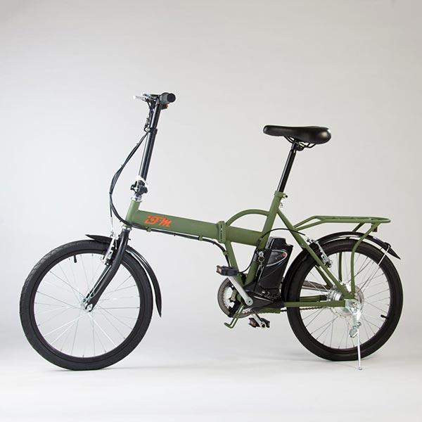 Bicicletta-elettrica-pieghevole-IFM-verde-militare-con-batteria-al-litio-2
