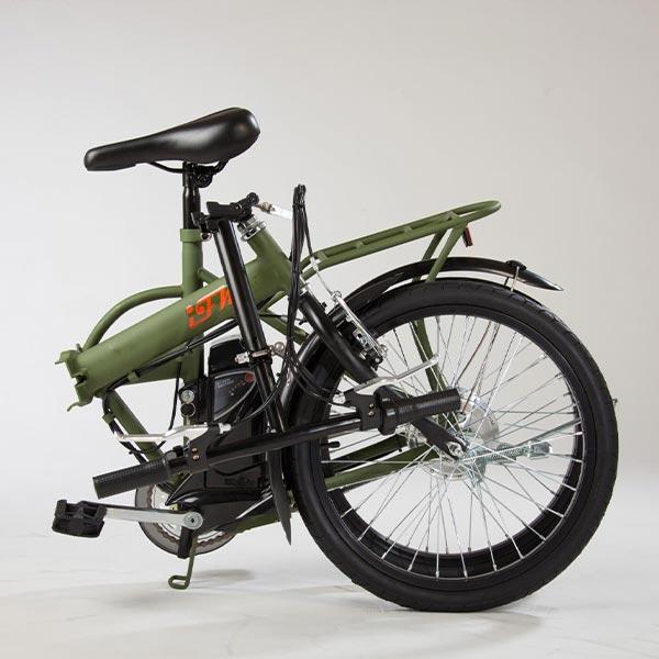 Bicicletta-elettrica-pieghevole-IFM-verde-militare-con-batteria-al-litio-3