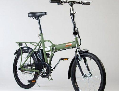 Bicicletta elettrica pieghevole IFM verde militare con batteria al litio