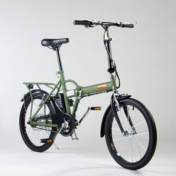 Bicicletta-elettrica-pieghevole-IFM-verde-militare-con-batteria-al-litio