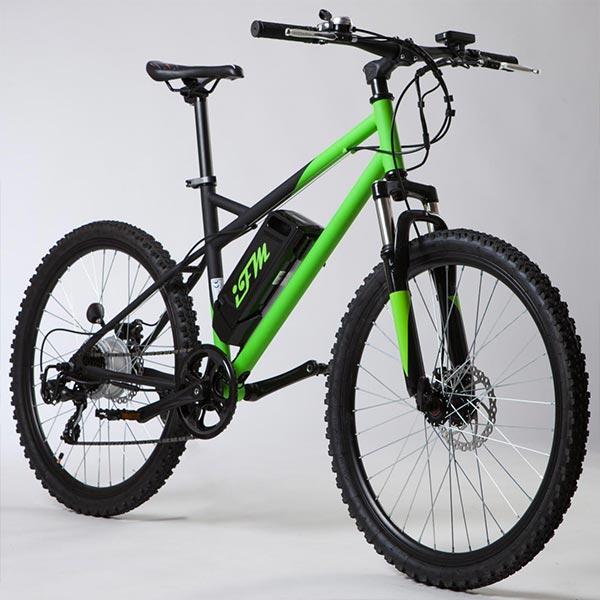 Mountain-bike-elettrica-IFM-verde-e-nera-con-batteria-al-litio-36V-8Ah